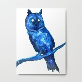 Owl Painting | Space Owl | Owl Constellation | Cosmic Owl | Blue Owl Metal Print