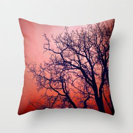 Red Tree Sillouette Throw Pillow