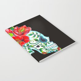Sugar Skull with Red Poppies Notebook