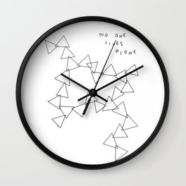 Geometric Shape Triangle Pattern - No One Lives Alone no.4 Wall Clock