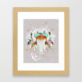 Fantasy boho skull Framed Art Print