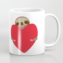 Valentines day card. Funny sloth with a red heart Coffee Mug