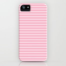 Pink and White Horizontal Stripes iPhone Case