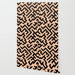 Black and Deep Peach Orange Diagonal Labyrinth Wallpaper