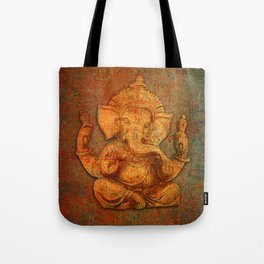 Lord Ganesh On a Distress Stone Background Tote Bag