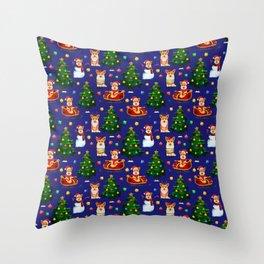 Merry Corgmess- Corgi Celebrate Christmas Midnight Blue Throw Pillow