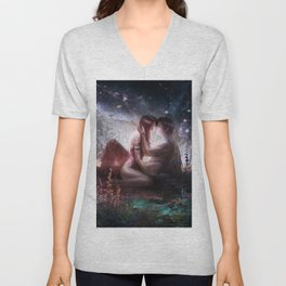 Counting stars - Romantic couple kissing Unisex V-Neck