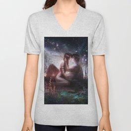 Romantic couple kissing under starry sky Unisex V-Neck