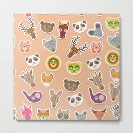 Set of funny animals muzzle seamless pattern. pink peach background. Vector Metal Print