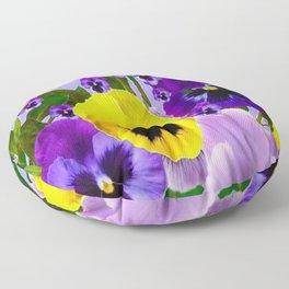 PINK & PURPLE SPRING PANSY FLOWER GARDEN  Floor Pillow