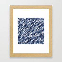 Blue + Gray brushstrokes Framed Art Print