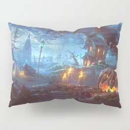Scary Halloween Haunted House Jack O Lantern Pumpkinhead On Graveyard Pillow Sham