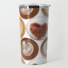 Latte Polka Dots in White Travel Mug