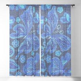Butterflies - Distressed - Bright Sheer Curtain