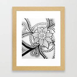 flower zentangle Framed Art Print