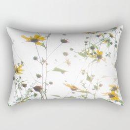 Texas Wildflowers and White Sky Rectangular Pillow