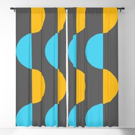 Mid century modern  half moon waves - abstract geometric art (blue and yellow) Blackout Curtain