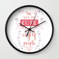 lettering Wall Clocks featuring Lettering - Juno by aysenur