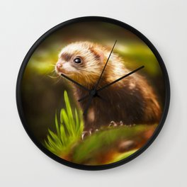 cute ferret Wall Clock
