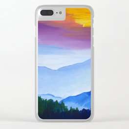 Smokey Mountain Sunset Clear iPhone Case
