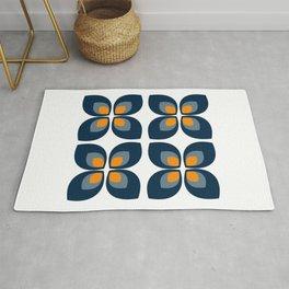 Minimal Art Mid Century Modern Leaf Flower Pattern Blue and Orange Rug