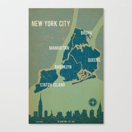 NYC Boroughs in Navy Blue Canvas Print