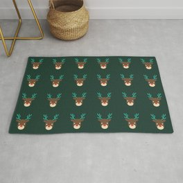 Cute deer pattern Christmas decorations retro colors dark green background Rug