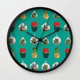 Green Festive Succulents Wall Clock