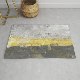 Yellow and Grey Abstract Painting - Horizontal Rug