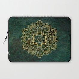 Golden Flower Mandala on Dark Green Laptop Sleeve