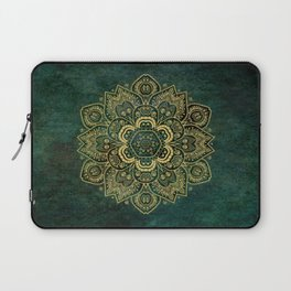 Golden Flower Mandala on Dark Green Laptop Sleeve