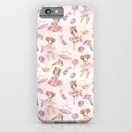Gold Glitter Ballerinas and Flowers iPhone Case