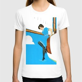 "Coles Phillips 'Fadeaway Girl' Illustration ""Blue Sailing"" T-shirt"