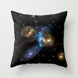 Stephan's Quintet of Five Galaxies in Constellation Pegasus Deep Space Telescopic Photograph Throw Pillow