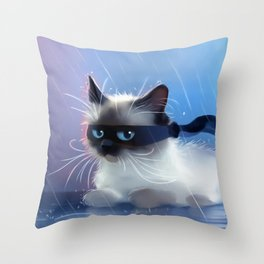 Fancy Ninja Cat Throw Pillow