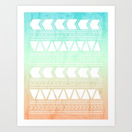 Sherbet Geometric Pattern Art Print
