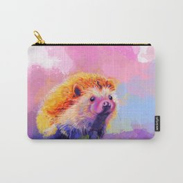 Sweet Hedgehog, cute pink and purple animal painting Carry-All Pouch