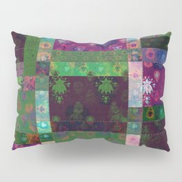 Lotus flower green and maroon stitched patchwork - woodblock print style pattern Pillow Sham