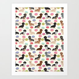 Dachshund weener dog donuts cutest doxie gifts for small dog owners Art Print
