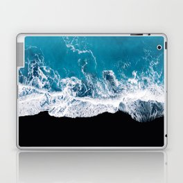 Black sand beach with waves and blue Ocean in Iceland – Minimal Photography Laptop & iPad Skin