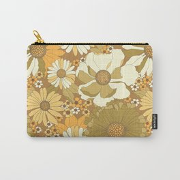 Brown, Orange, Ivory & Green Vintage Flower Pattern Carry-All Pouch