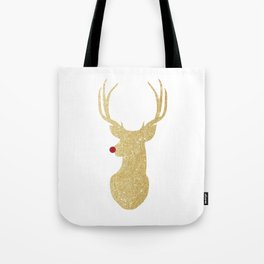 Rudolph The Red-Nosed Reindeer | Gold Glitter Tote Bag