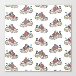 Balenciaga Triple S Sneaker Pattern Illustration Canvas Print