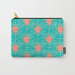 Dainty All Seeing Eye Pattern in Coral Carry-All Pouch