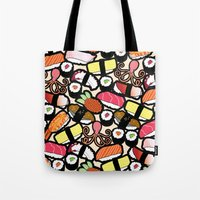 sushi Tote Bags featuring Sushi! by thickblackoutline