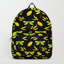 Pretty beautiful yellow golden dragonflies, leaves elegant stylish black nature spring pattern Backpack