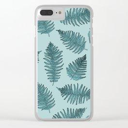 Blue fern garden botanical leaf illustration pattern Clear iPhone Case