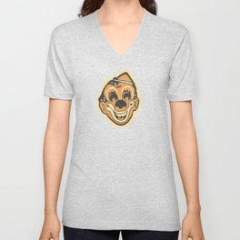 Retro Creepy Halloween Clown Face Mask Unisex V-Neck