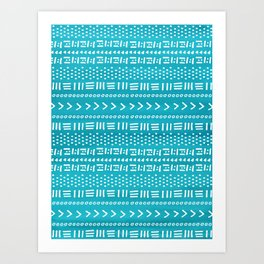 Teal Boho Stripes Pattern Art Print