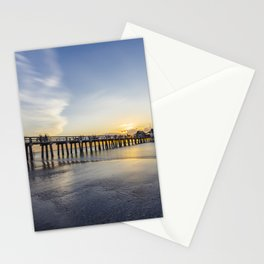 Sunset over Naples Pier in Florida from the beach Stationery Cards